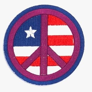 Accessories - Peace Sign patch iron on flag patriotic hippie DIY